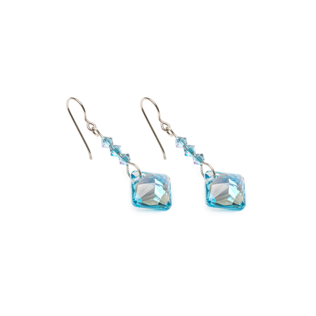 Aquamarine Crystal Titanium Earrings - Simply Whispers
