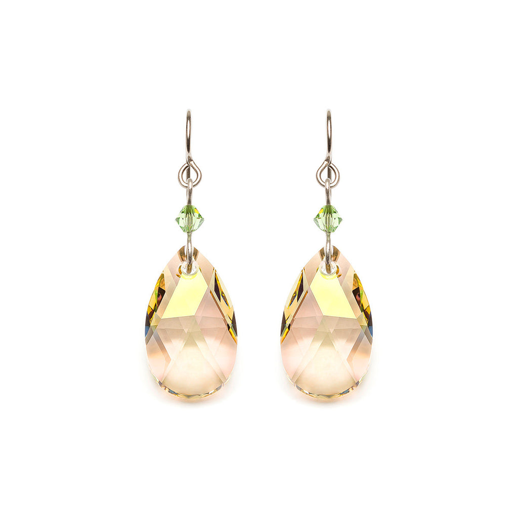 Yellow Drop Crystal Titanium Earrings - Simply Whispers
