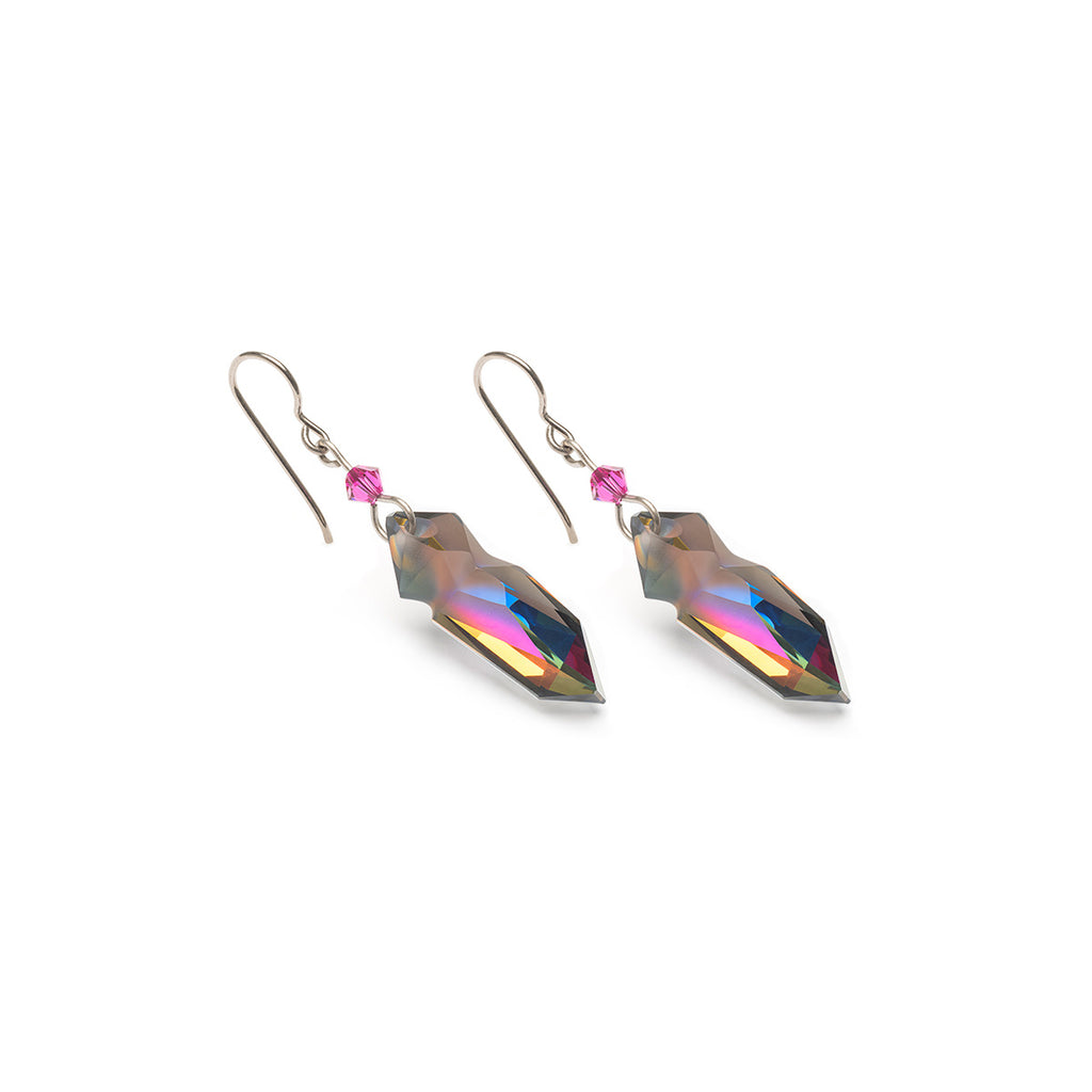 Red Rainbow Crystal Titanium Earrings - Simply Whispers