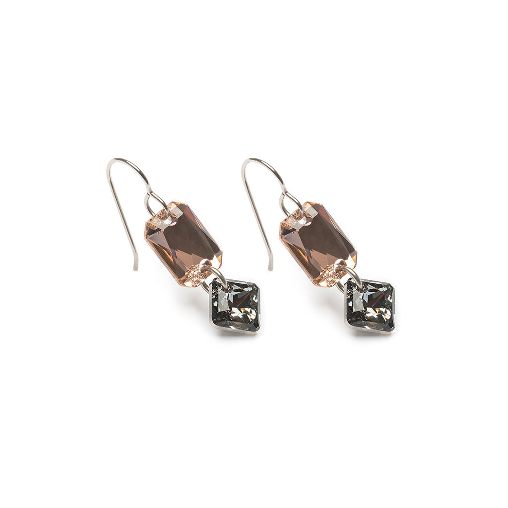Smoky Crystal Niobium Earrings - Simply Whispers