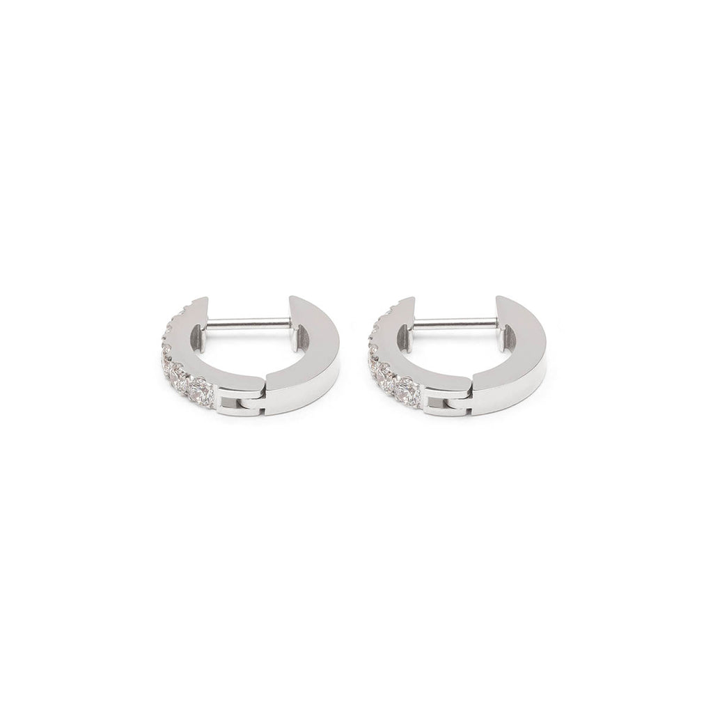 White Cubic Zirconia Silver Huggie Hoops - Simply Whispers