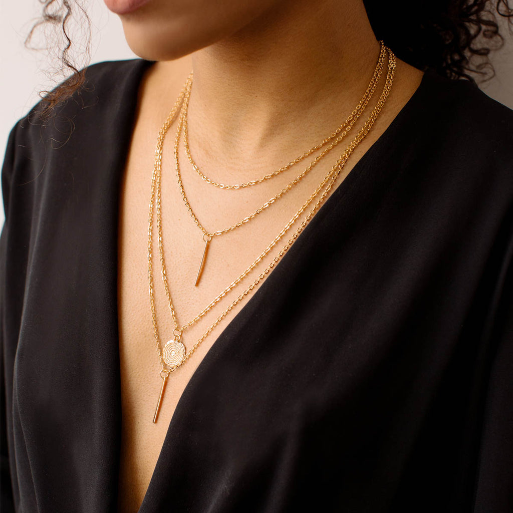 Coin And Bar Layered Necklace - Simply Whispers