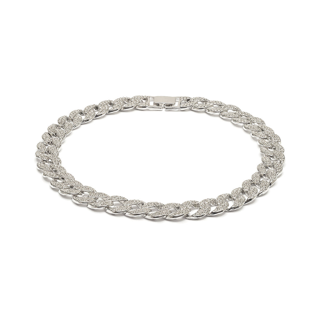 Silver Plated Crystal Curb Necklace - Simply Whispers