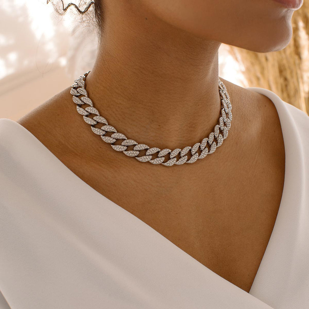 Crystal Curb Chain Necklace - Simply Whispers