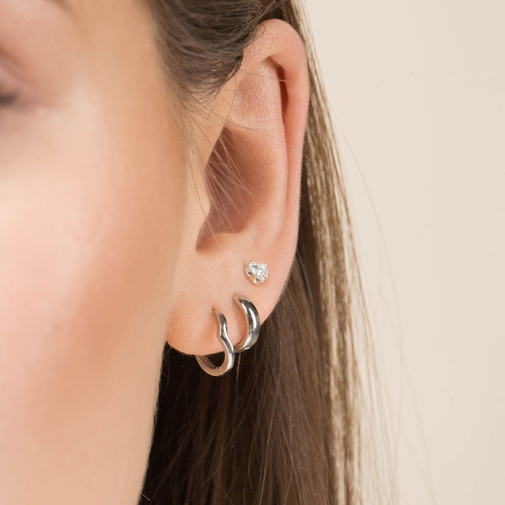 Silver V-Shaped Huggie Earrings - Simply Whispers