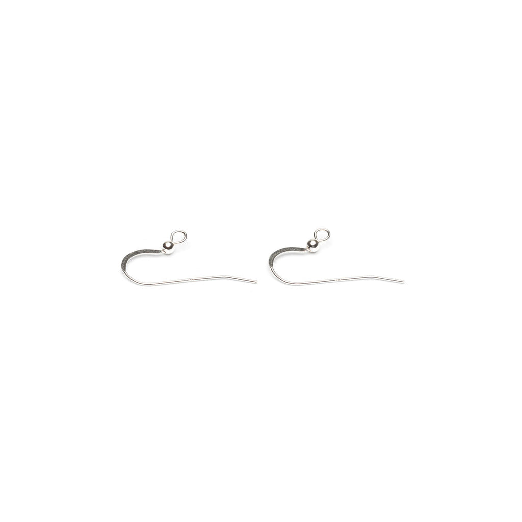 925 Sterling Silver Flat French Hook With Ball Accessory - 1 Pair - Simply Whispers