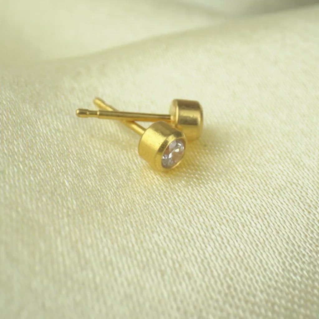 April Birthstone 14k Gold Plated Earrings