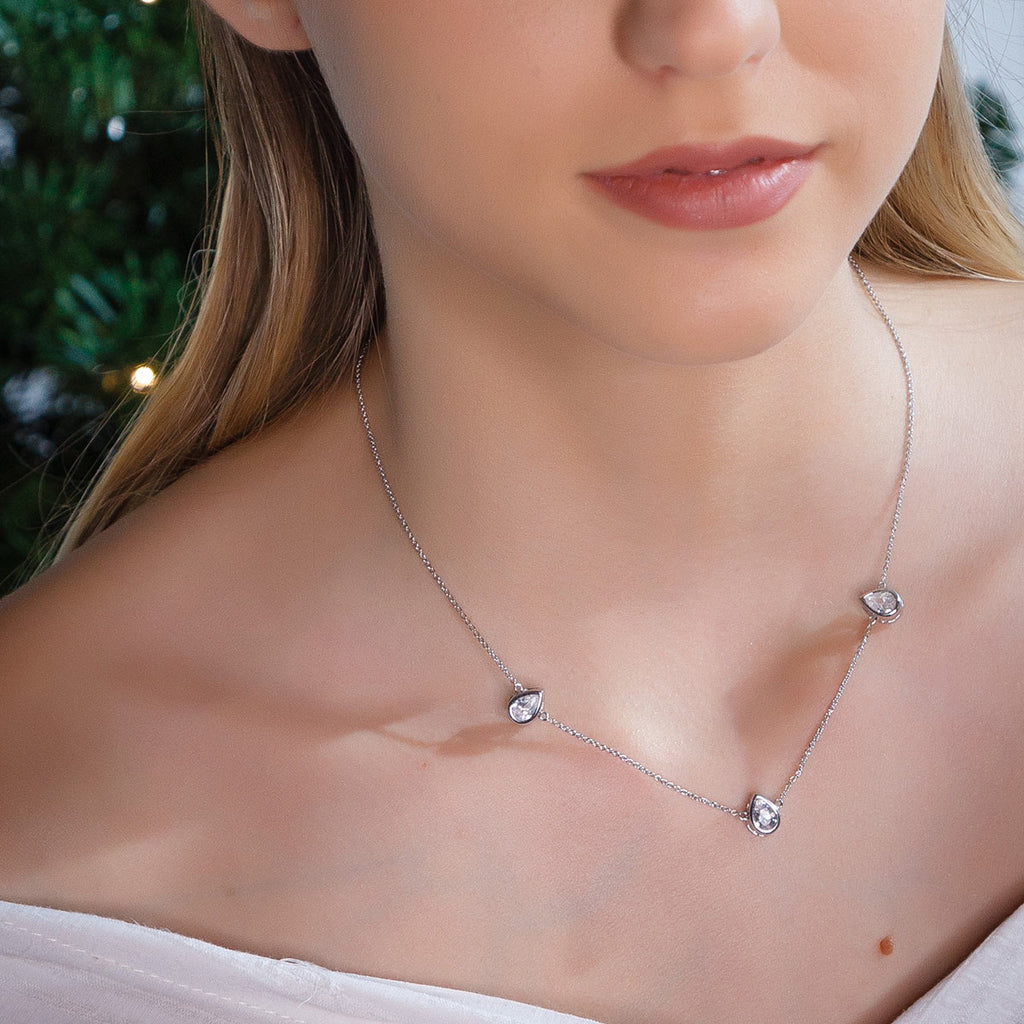 Silver Plated Crystal Teardrop Necklace - Simply Whispers