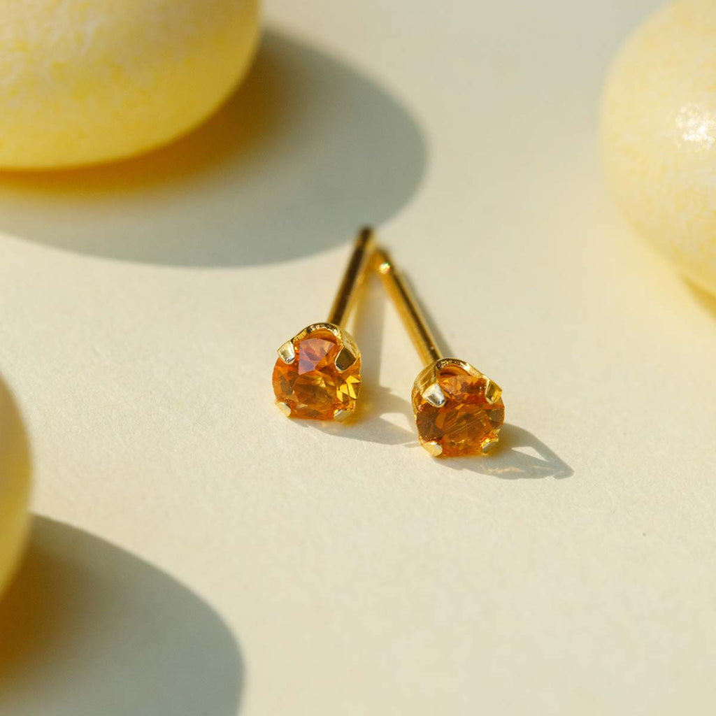 November Birthstone 14k Gold Plated Stud Earrings