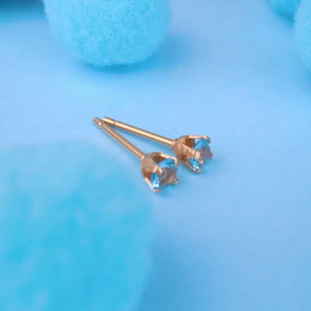 March Birthstone 14k Gold Plated Stud Earrings