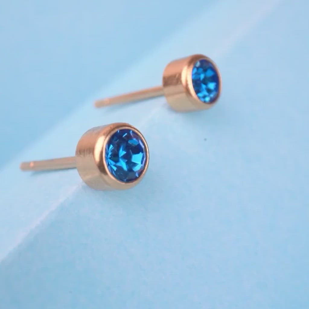 September Birthstone 14k Gold Plated Earrings