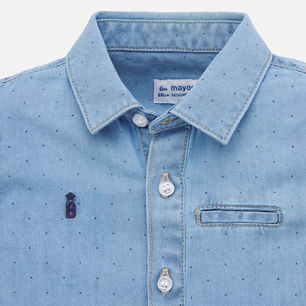 1156 Chambray Dot Button Up