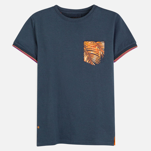 6064 Navy & Orange Palm Tee
