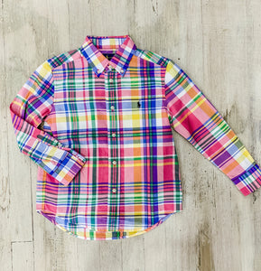 Little Boy Spring Plaid Long Sleeved Button Up