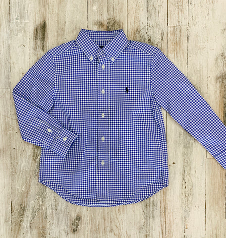 Boy L/S Blue Check Button up
