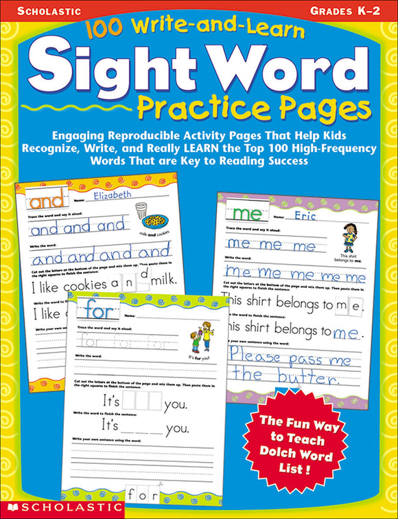 100 Write-and-Learn Sight Word Practice Pages (4632387780704)
