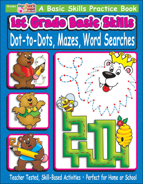 1st Grade Basic Skills: Dot-to-Dots, Mazes, Word Searches (4632444371040)