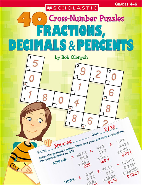 40 Cross-Number Puzzles: Fractions, Decimals & Percents (4748939395168)