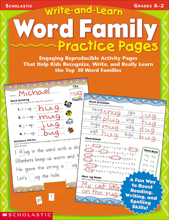 Write-and-Learn Word Family Practice Pages (4632444665952)
