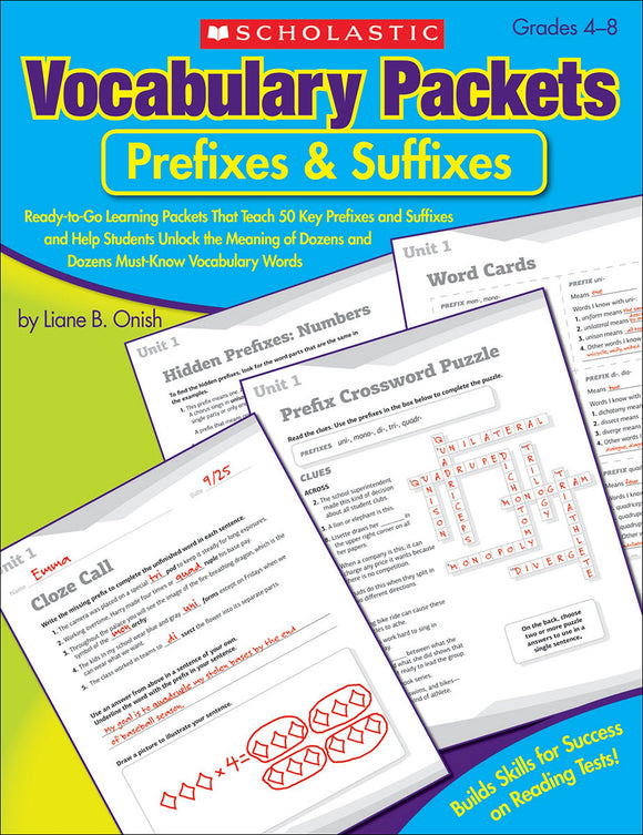 Vocaulary Packets: Prefixes & Suffixes