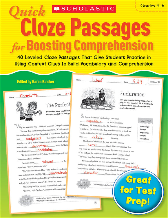 Quick Cloze Passages for Boosting Comprehension: Grades 4-6 (4632413995104)