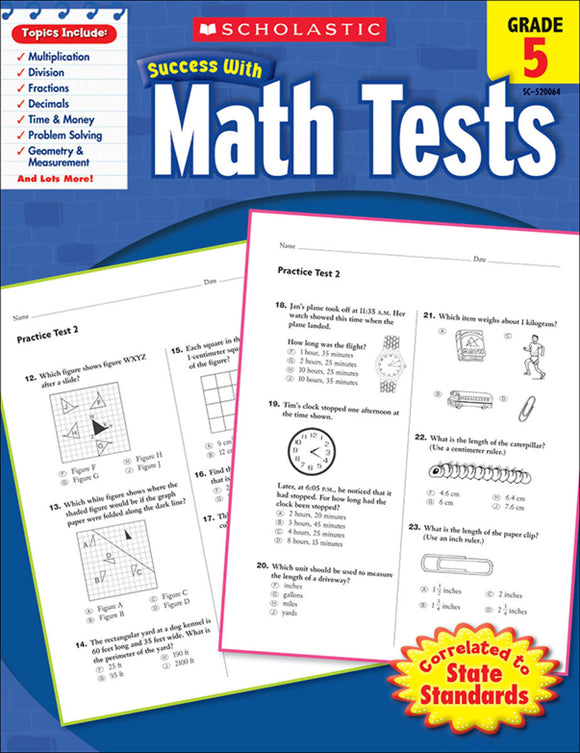 Scholastic Success With Math Tests: Grade 5 Workbook (4632414945376)