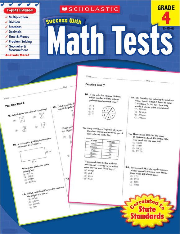 Scholastic Success With Math Tests: Grade 4 Workbook (4632415174752)
