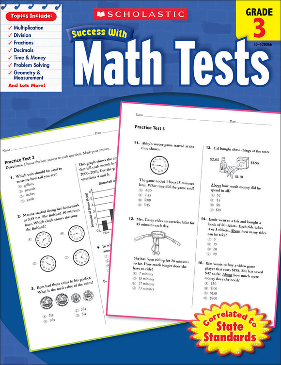 Scholastic Success With Math Tests: Grade 3 Workbook (4632415338592)