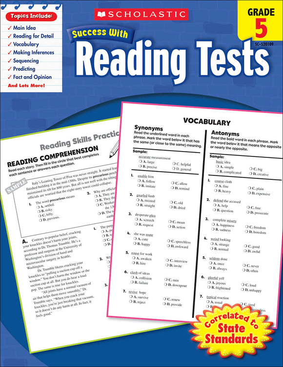 Scholastic Success With Reading Tests: Grade 5 Workbook