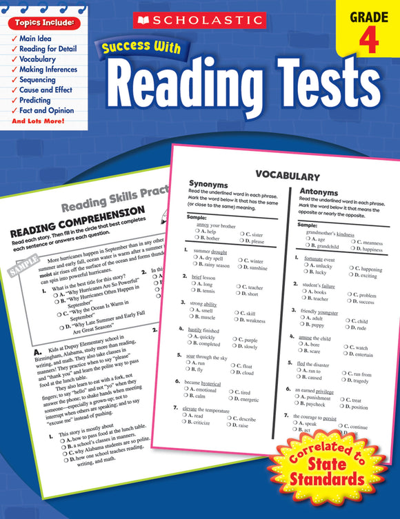 Scholastic Success With Reading Tests: Grade 4 Workbook