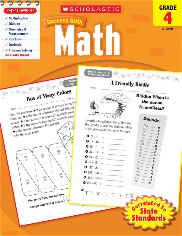 Scholastic Success With Math: Grade 4 Workbook