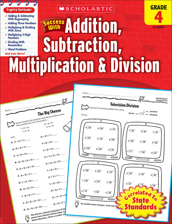 Scholastic Success With Addition, Subtraction, Multiplication & Division: Grade 4 Workbook (4632417534048)