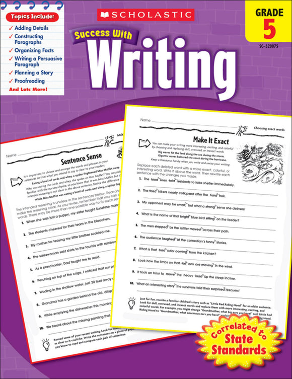 Scholastic Success With Writing: Grade 5 Workbook (4632418222176)