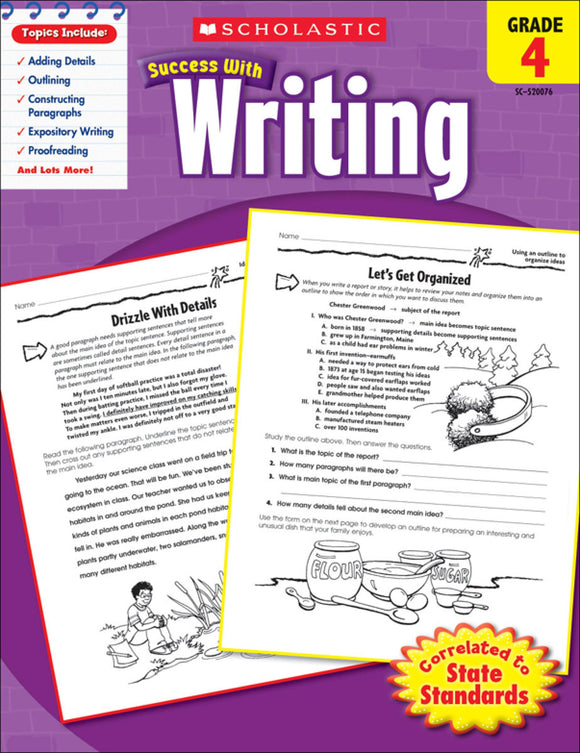 Scholastic Success With Writing: Grade 4 Workbook