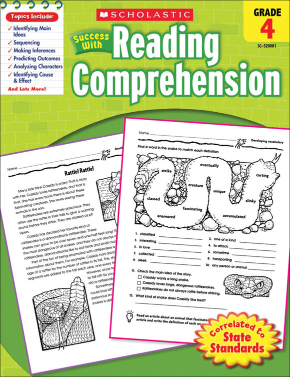 Scholastic Success With Reading Comprehension: Grade 4 Workbook