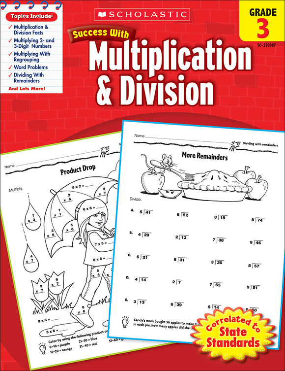 Scholastic Success With Multiplication & Division: Grade 3 Workbook (4632419500128)