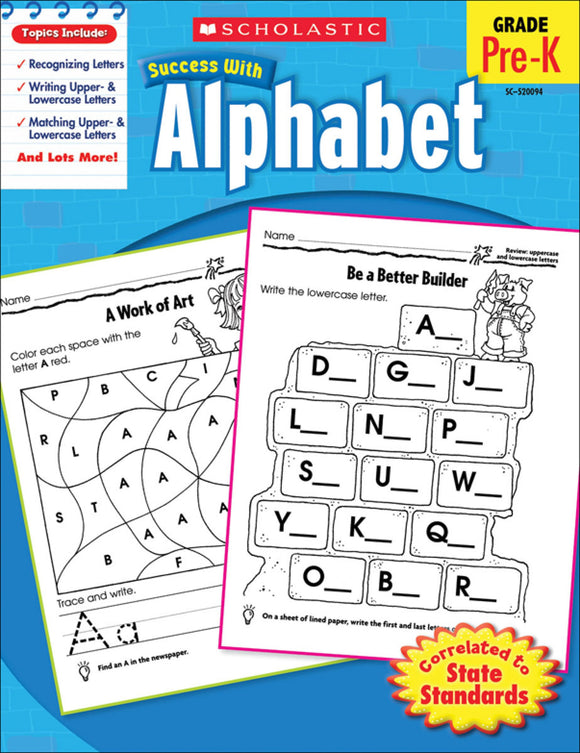 Scholastic Success With Alphabet Workbook