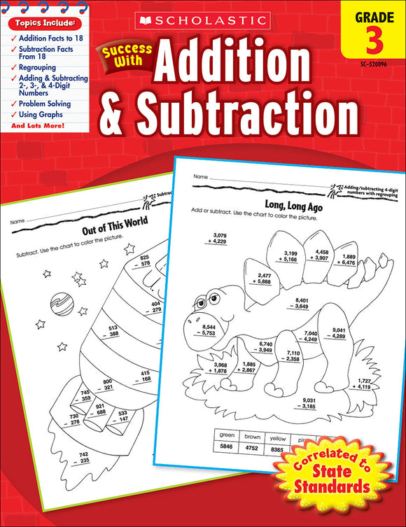 Scholastic Success With Addition & Subtraction: Grade 3 Workbook (4632419860576)