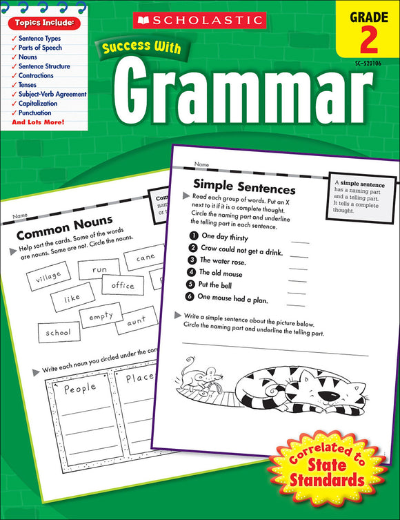 Scholastic Success With Grammar: Grade 2 Workbook (4632420155488)
