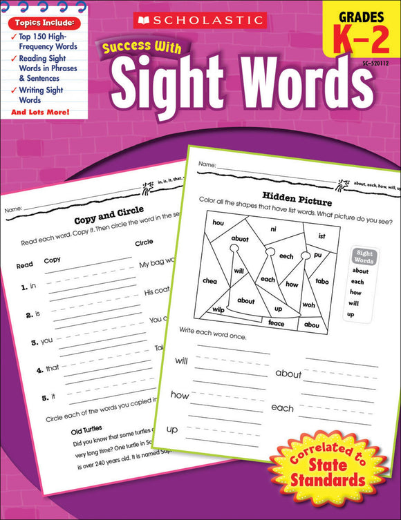 Scholastic Success With Sight Words Workbook (4632420253792)
