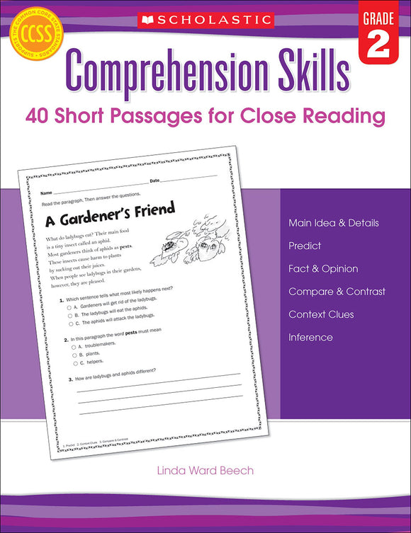 Comprehension Skills: 40 Short Passages for Close Reading: Grade 2 (4632420614240)