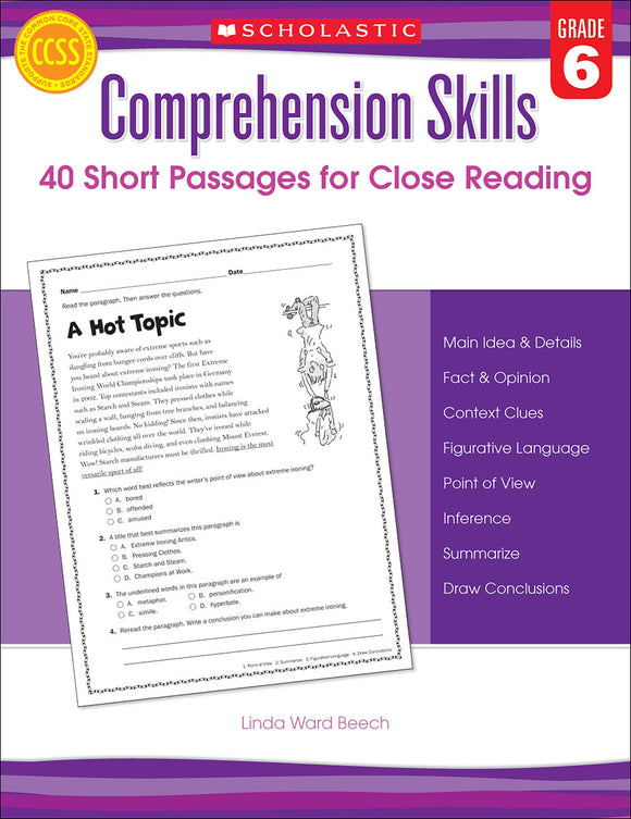 Comprehension Skills: 40 Short Passages for Close Reading: Grade 6 (4632421105760)