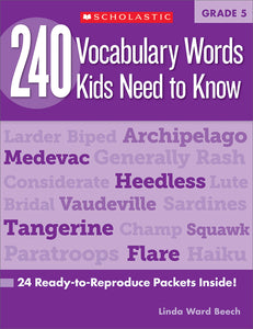 240 Vocabulary Words Kids Need to Know: Grade 5