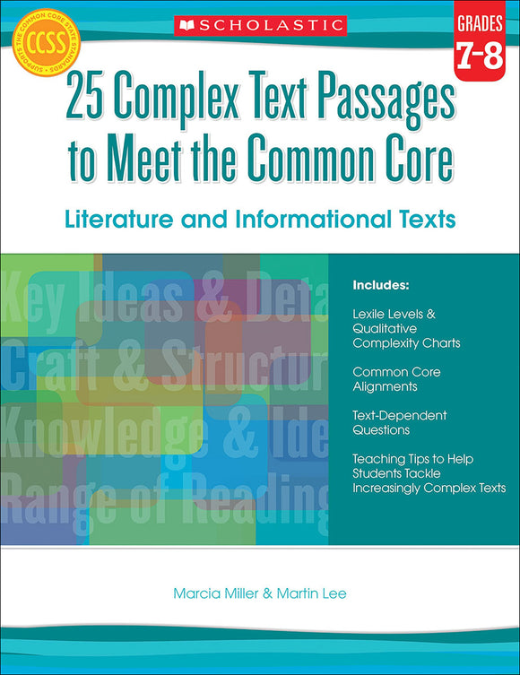 25 Complex Text Passages to Meet the Common Core: Literature and Informational Texts: Grades 7-8 (4632405278816)