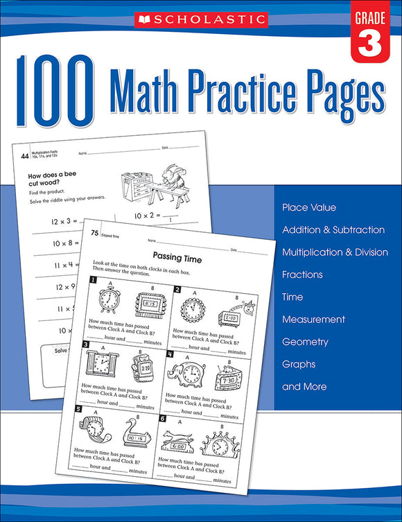 100 Math Practice Pages: Grade 3