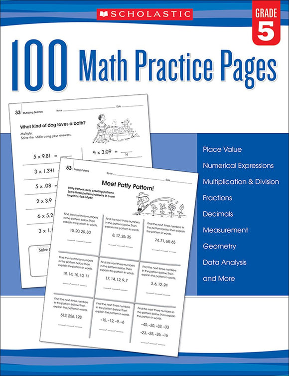 100 Math Practice Pages: Grade 5 (4748938346592)