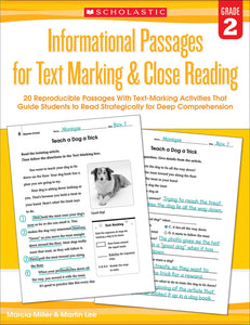 Informational Passages for Text Marking & Close Reading: Grade 2