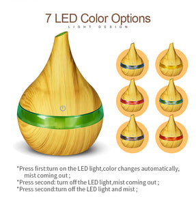Wood Transparent Texture Ultrasonic Oil Diffuser with 7 color LEDs - store4homes
