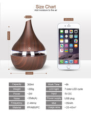 Load image into Gallery viewer, Wood Transparent Texture Ultrasonic Oil Diffuser with 7 color LEDs - store4homes