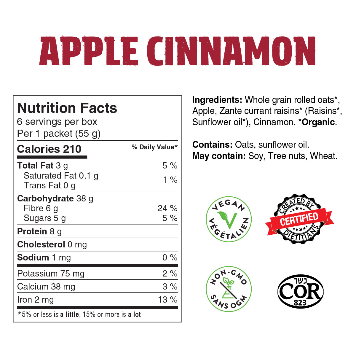 apple cinnamon overnight oats nutrition facts